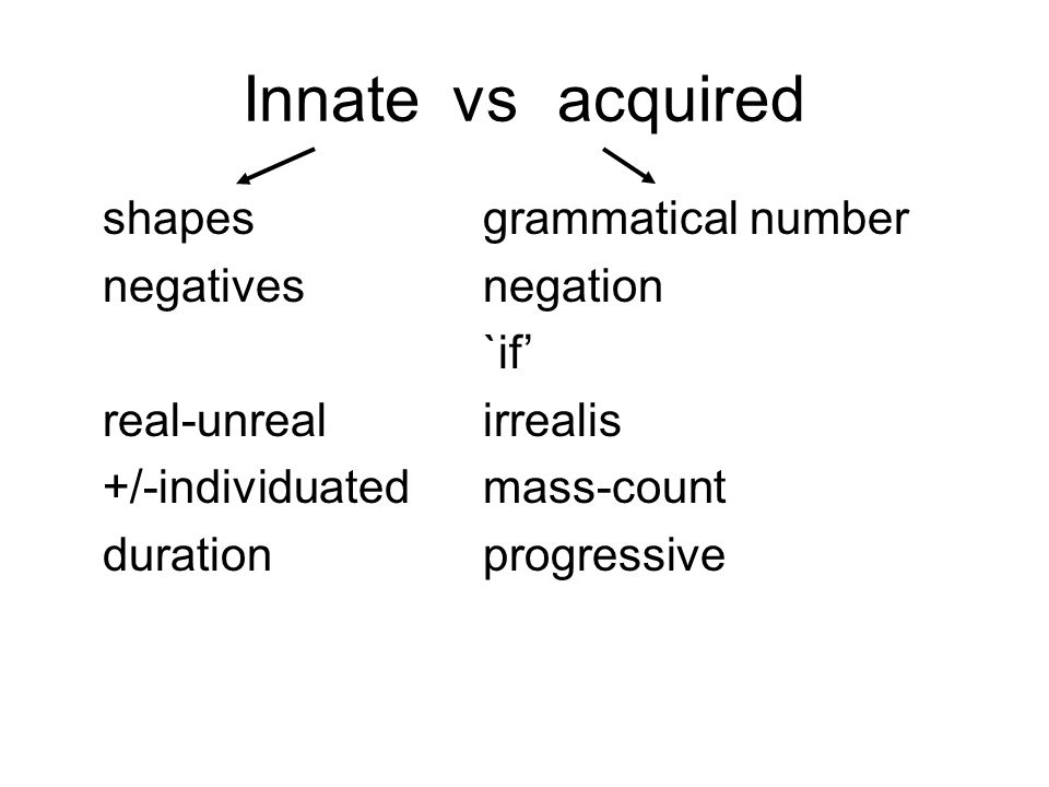 Innate vs acquired shapes grammatical number negatives negation `if'