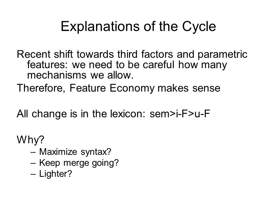 Explanations of the Cycle