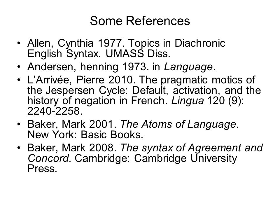 Some References Allen, Cynthia 1977. Topics in Diachronic English Syntax. UMASS Diss. Andersen, henning 1973. in Language.
