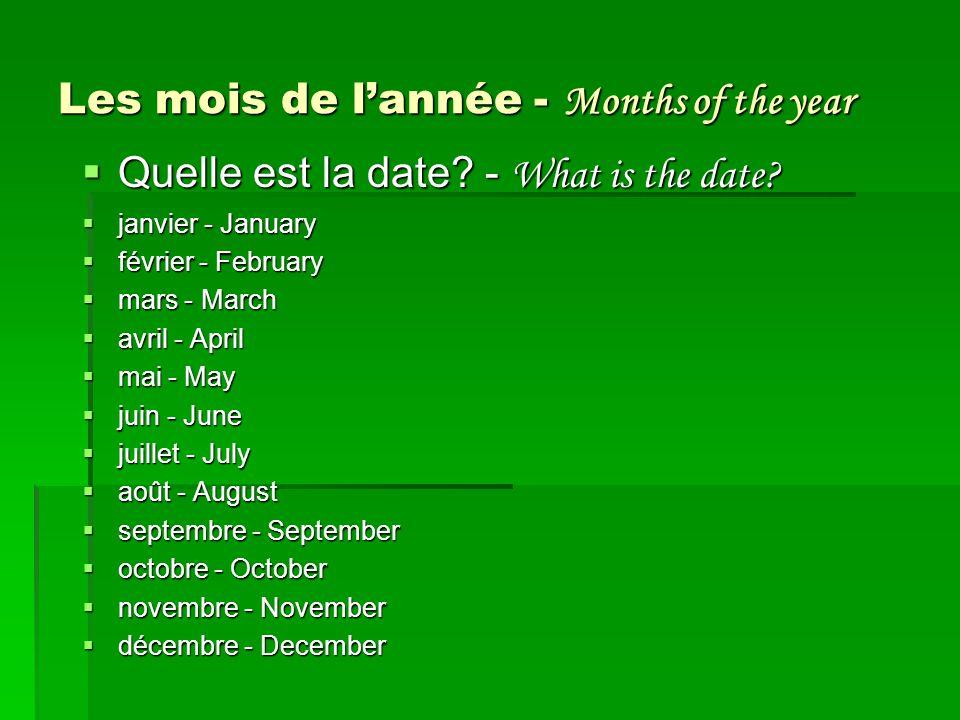 Les mois de l'année - Months of the year