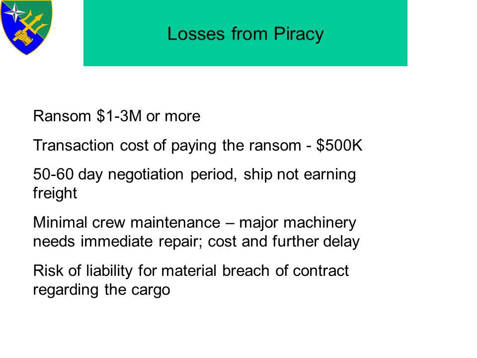 Losses from Piracy Ransom $1-3M or more