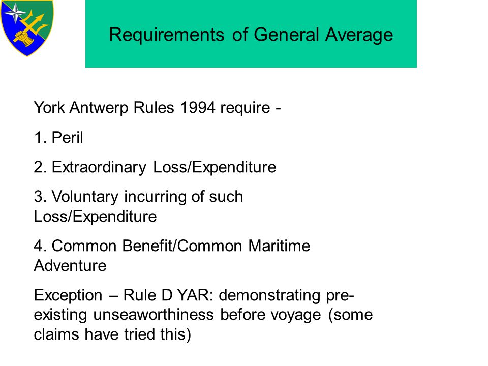 Requirements of General Average