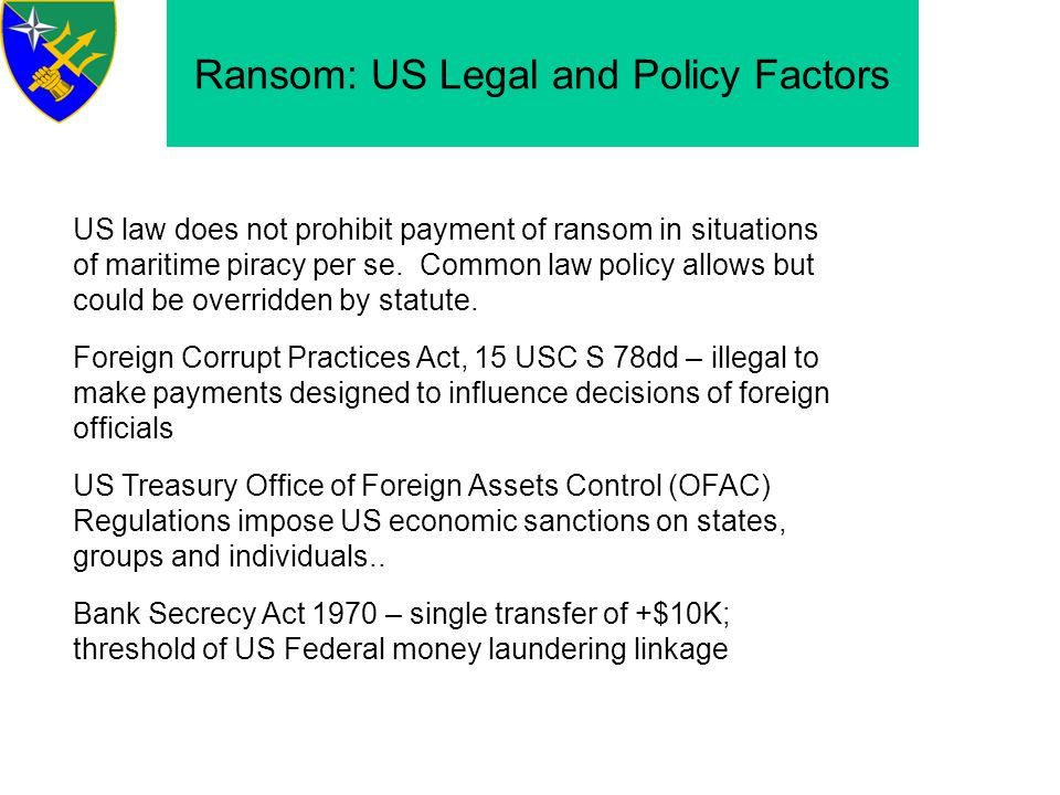 Ransom: US Legal and Policy Factors
