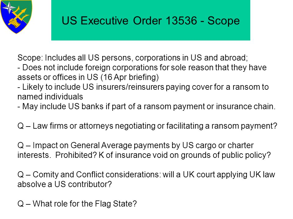 US Executive Order 13536 - Scope