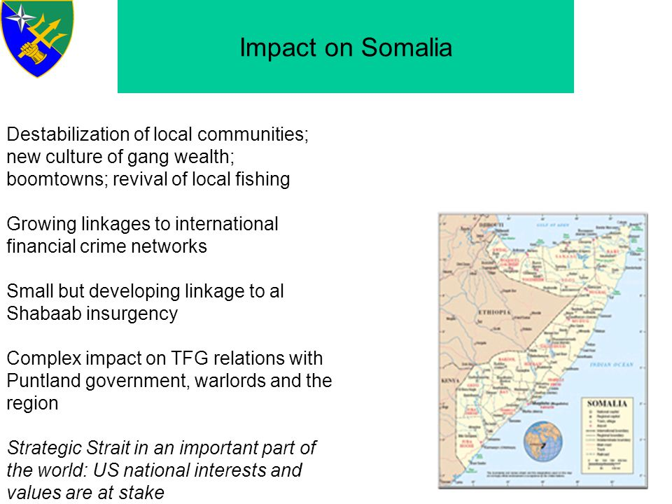 Impact on Somalia Destabilization of local communities; new culture of gang wealth; boomtowns; revival of local fishing.