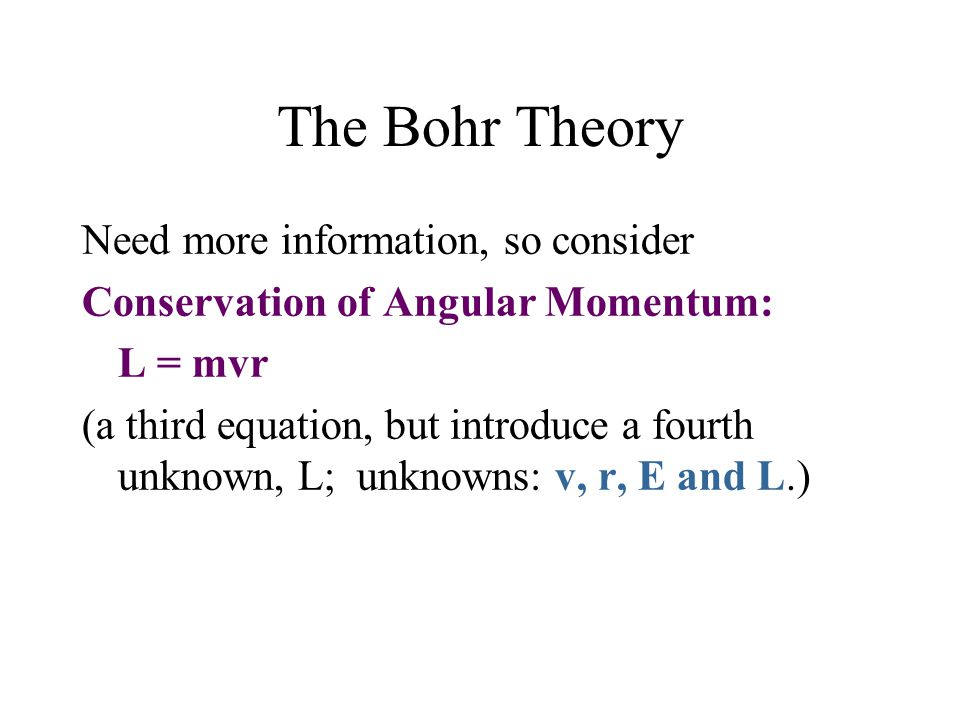 The Bohr Theory Need more information, so consider