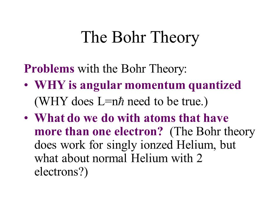 The Bohr Theory Problems with the Bohr Theory:
