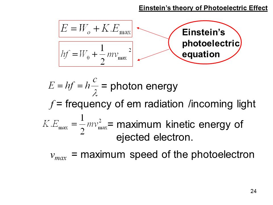 f = frequency of em radiation /incoming light