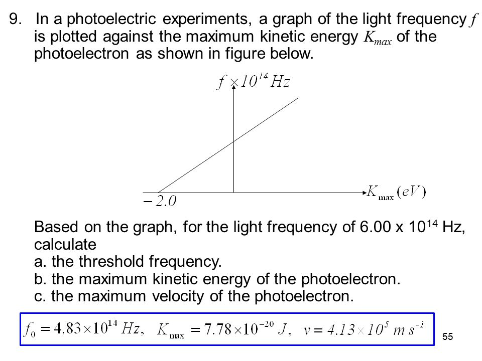 9. In a photoelectric experiments, a graph of the light frequency f is plotted against the maximum kinetic energy Kmax of the photoelectron as shown in figure below.