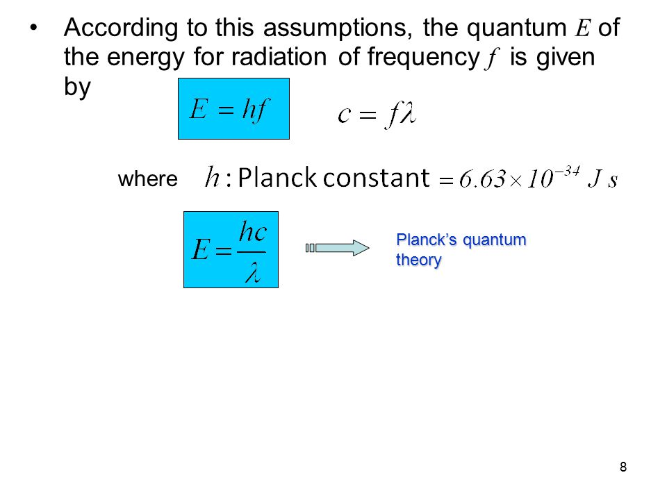 According to this assumptions, the quantum E of the energy for radiation of frequency f is given by