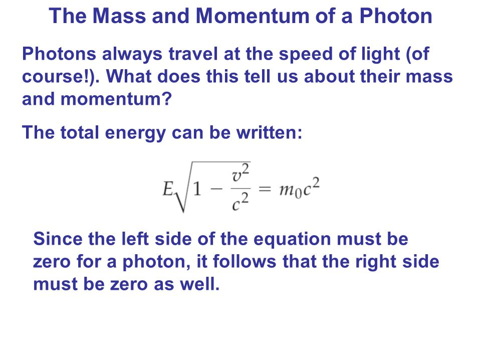 The Mass and Momentum of a Photon