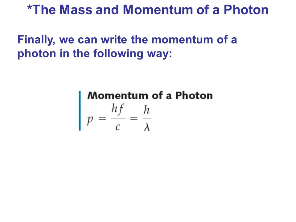 *The Mass and Momentum of a Photon