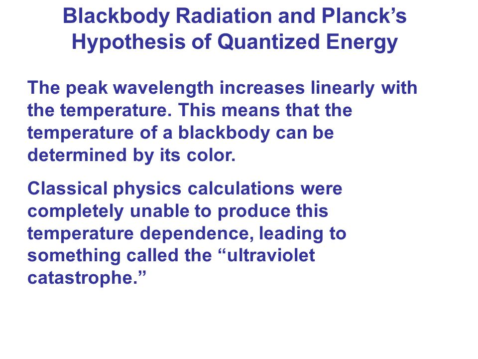 Blackbody Radiation and Planck's Hypothesis of Quantized Energy