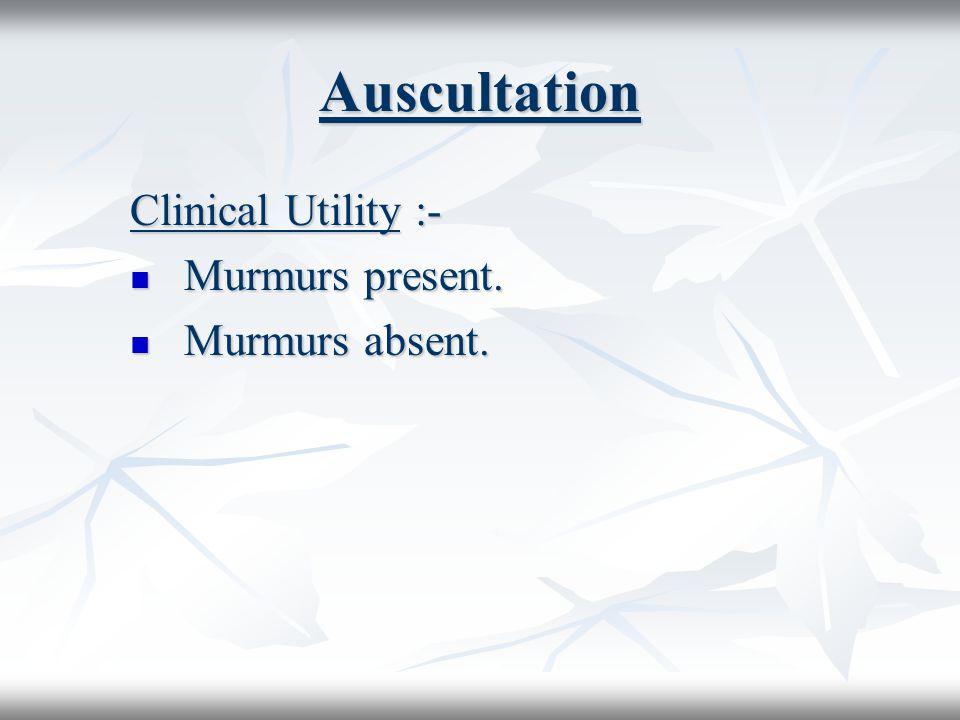 Auscultation Clinical Utility :- Murmurs present. Murmurs absent.
