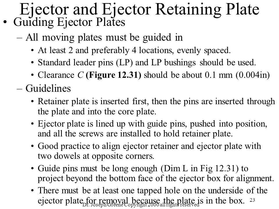 Ejector and Ejector Retaining Plate