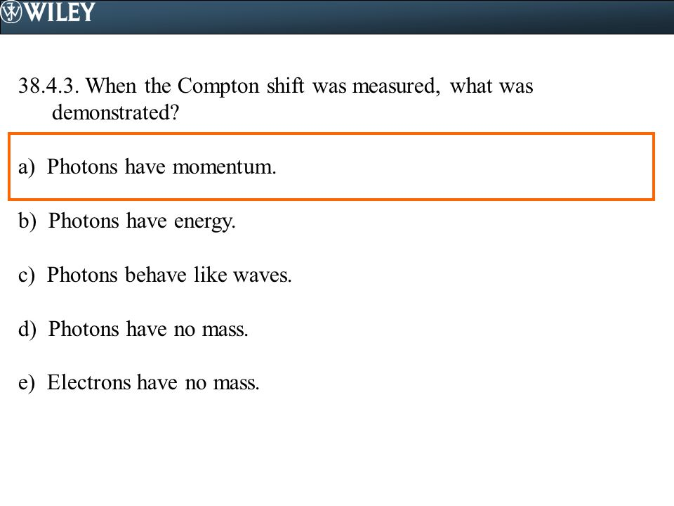 38.4.3. When the Compton shift was measured, what was demonstrated