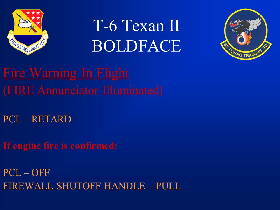 T-6 Texan II BOLDFACE Fire Warning In Flight