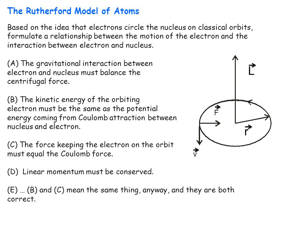 L r The Rutherford Model of Atoms