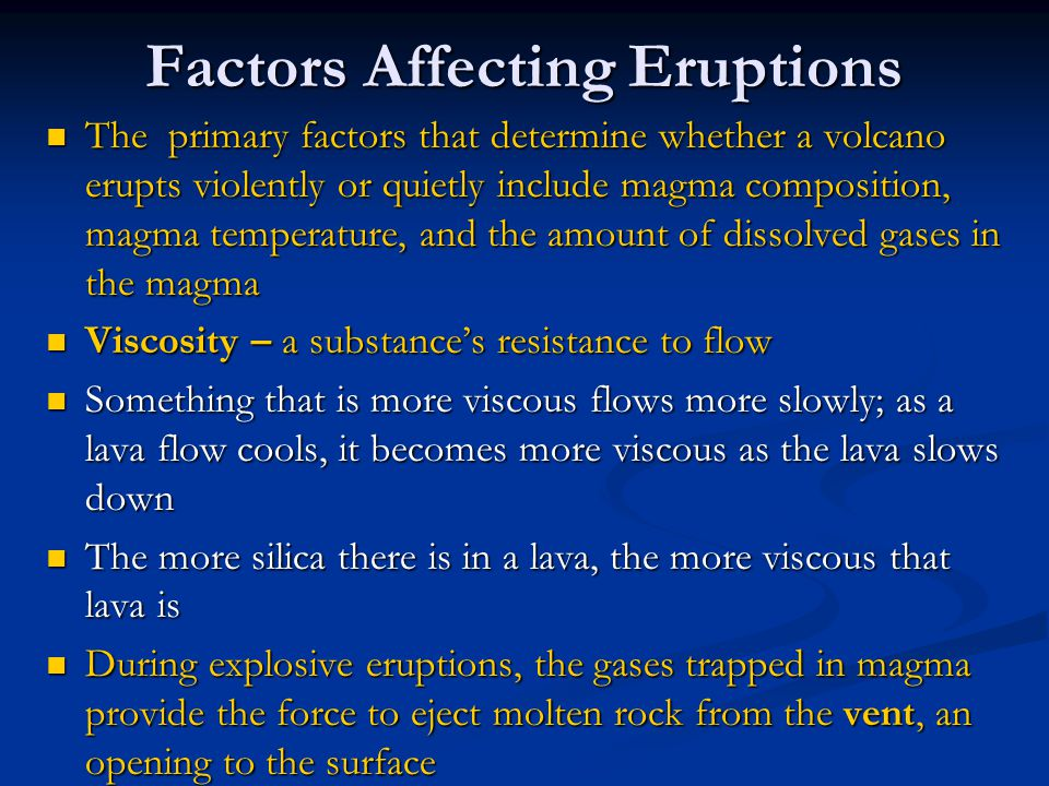 Factors Affecting Eruptions