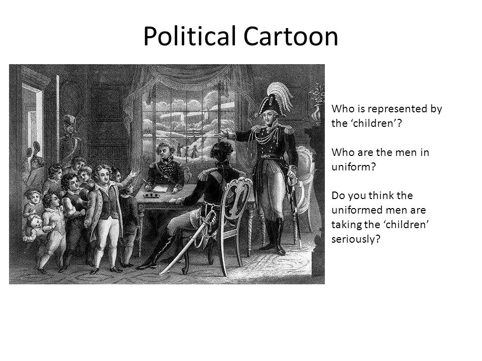 Political Cartoon Who is represented by the 'children'