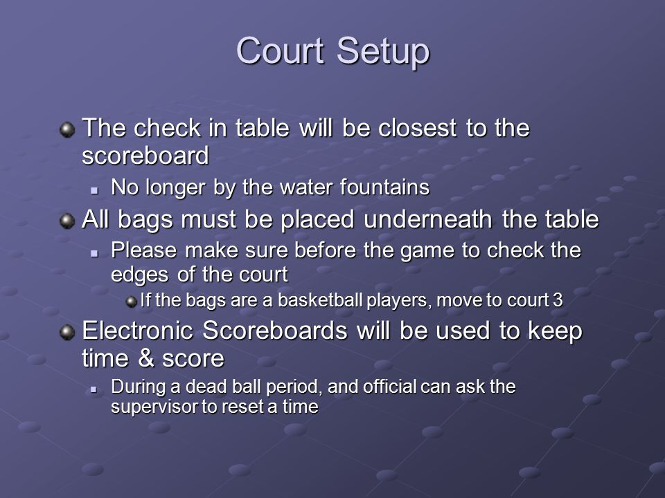 Court Setup The check in table will be closest to the scoreboard