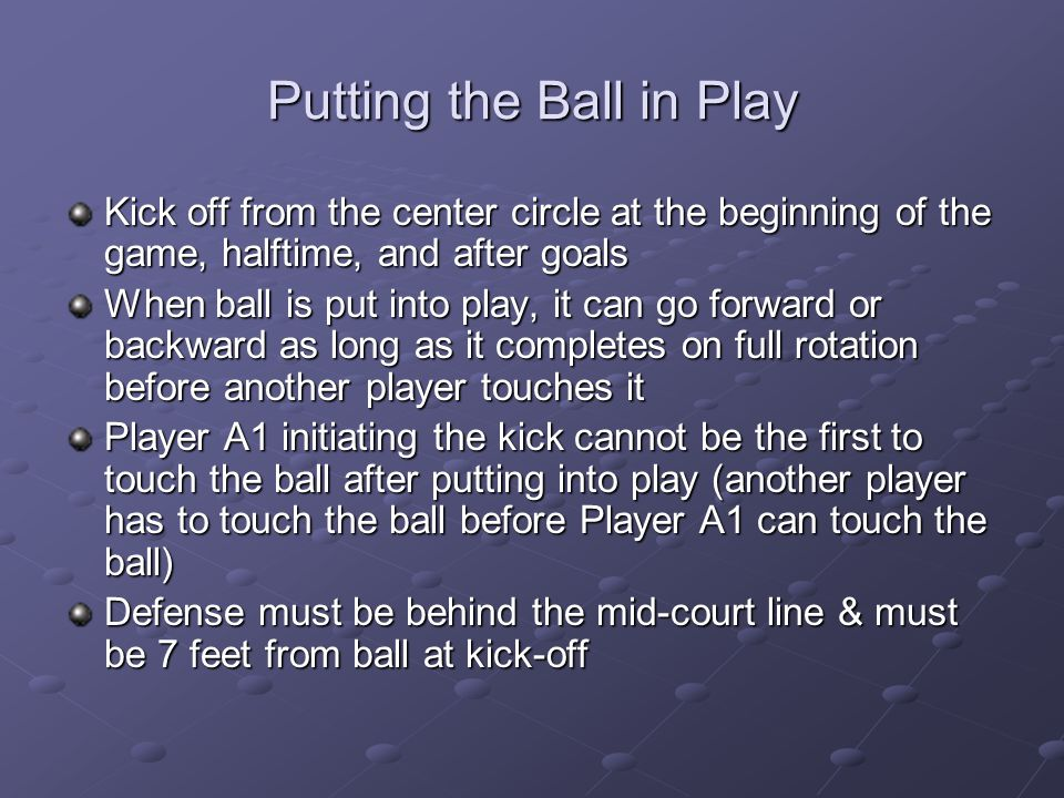 Putting the Ball in Play
