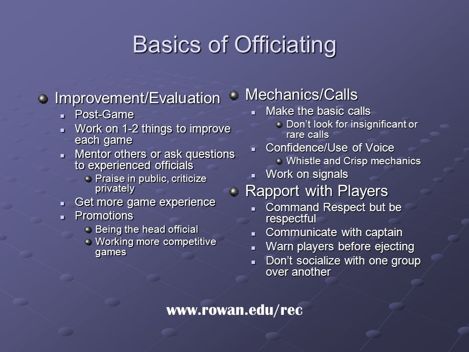 Basics of Officiating Mechanics/Calls Improvement/Evaluation