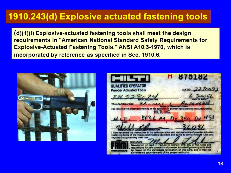 1910.243(d) Explosive actuated fastening tools