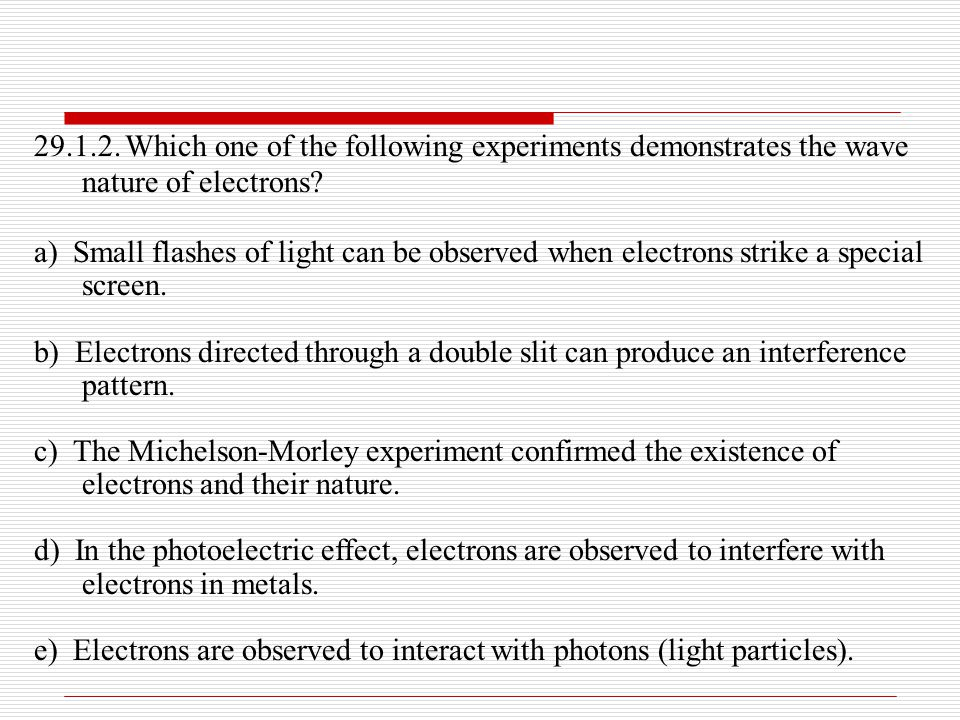 29.1.2. Which one of the following experiments demonstrates the wave nature of electrons