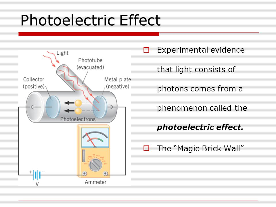 Photoelectric Effect Experimental evidence that light consists of photons comes from a phenomenon called the photoelectric effect.