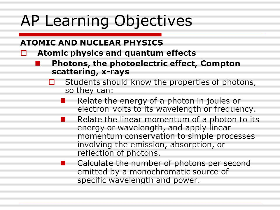 AP Learning Objectives