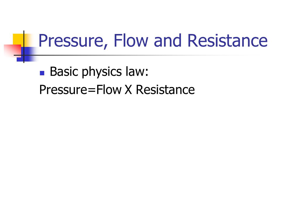 Pressure, Flow and Resistance