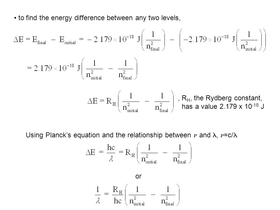 to find the energy difference between any two levels,