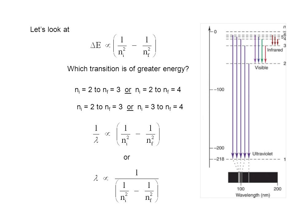 Let's look at Which transition is of greater energy ni = 2 to nf = 3 or ni = 2 to nf = 4. ni = 2 to nf = 3 or ni = 3 to nf = 4.