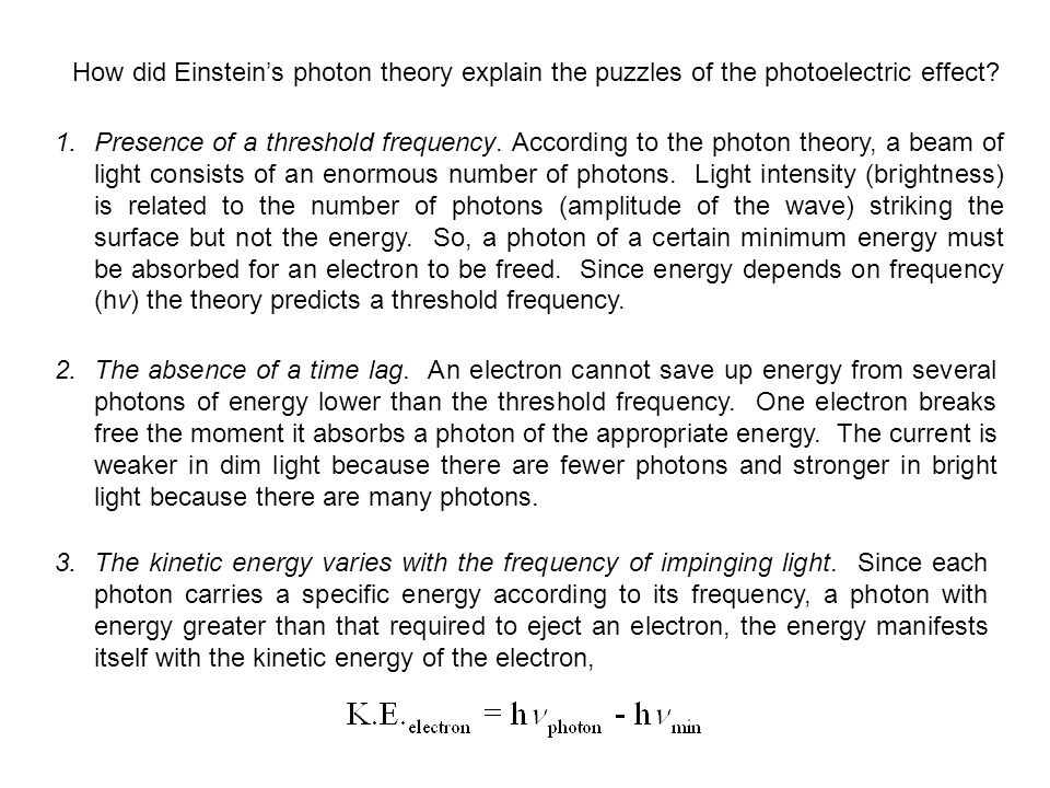 How did Einstein's photon theory explain the puzzles of the photoelectric effect