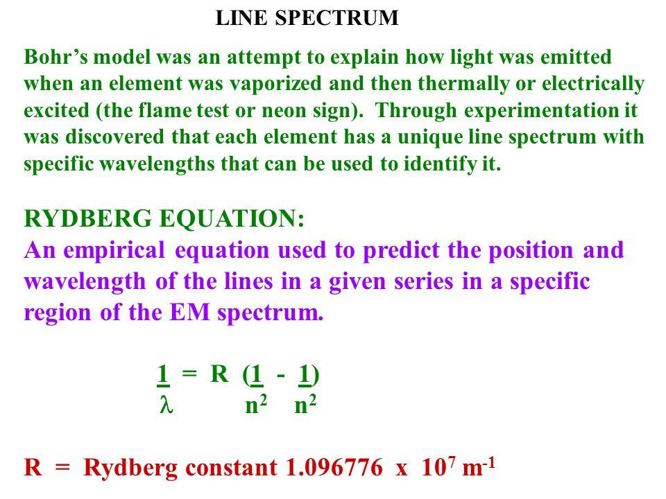 R = Rydberg constant 1.096776 x 107 m-1
