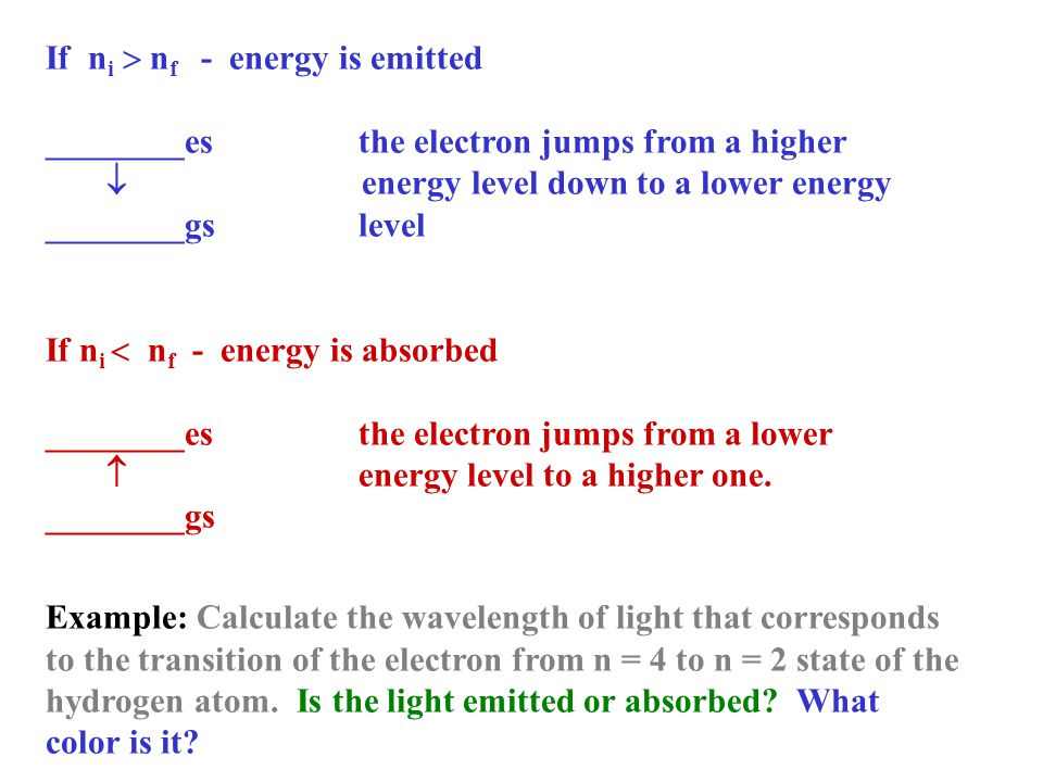 If ni  nf - energy is emitted
