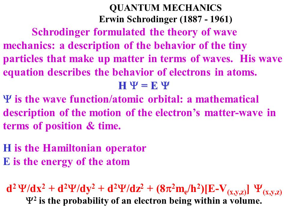 H is the Hamiltonian operator E is the energy of the atom