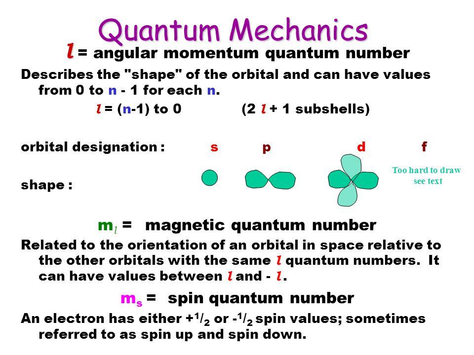 Quantum Mechanics l = angular momentum quantum number