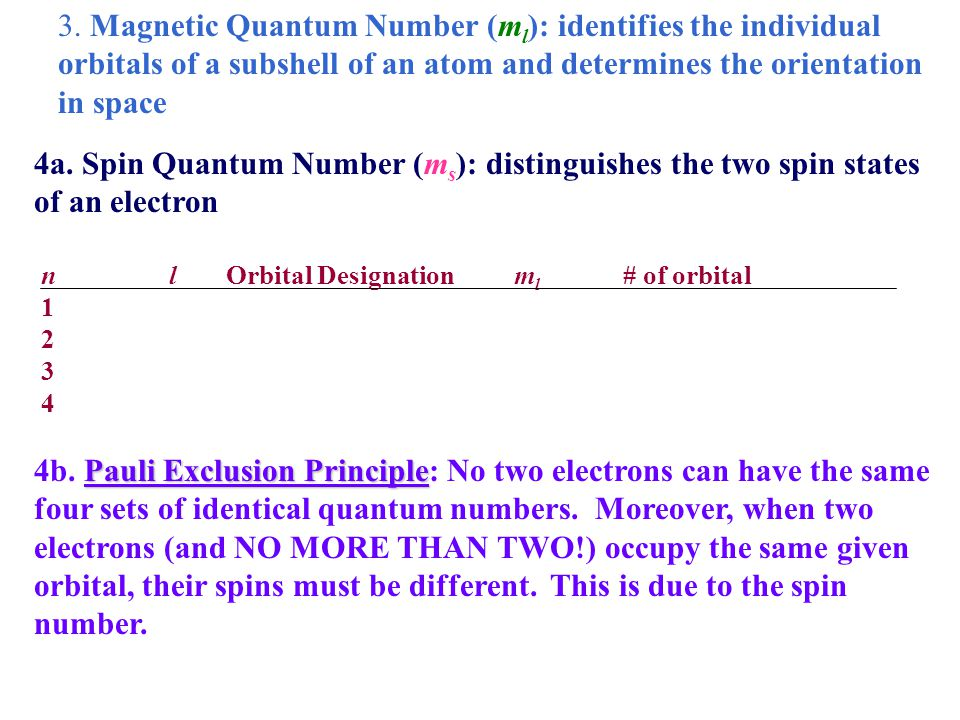 3. Magnetic Quantum Number (ml): identifies the individual orbitals of a subshell of an atom and determines the orientation in space