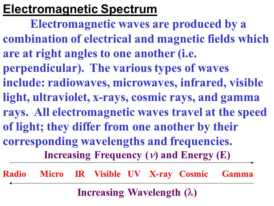 Increasing Frequency () and Energy (E) Increasing Wavelength ()
