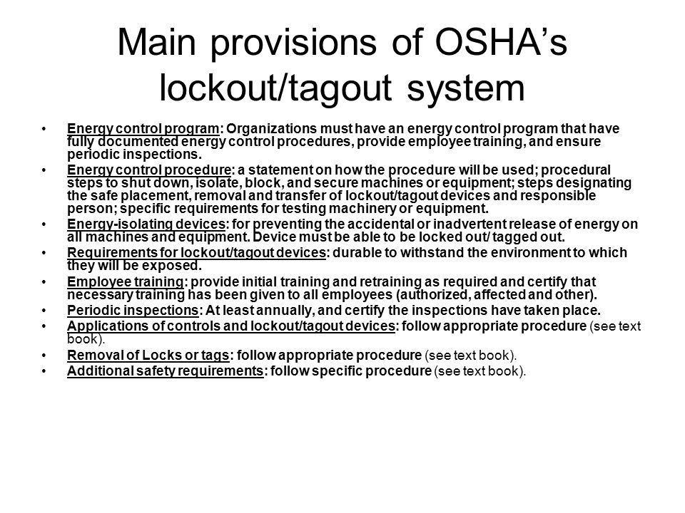 Main provisions of OSHA's lockout/tagout system