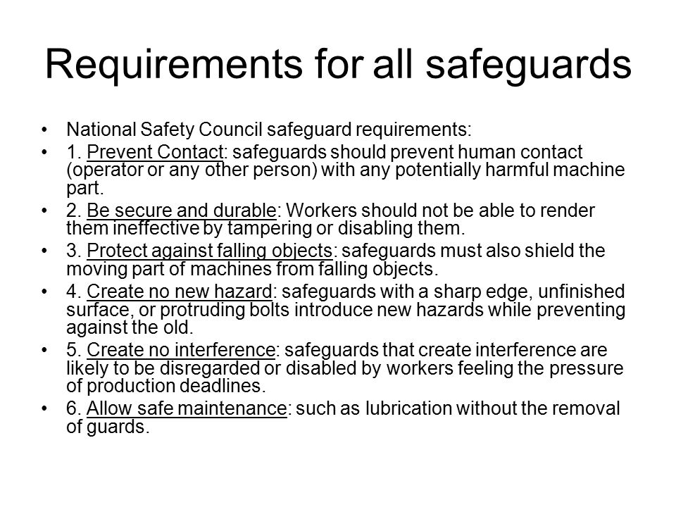 Requirements for all safeguards