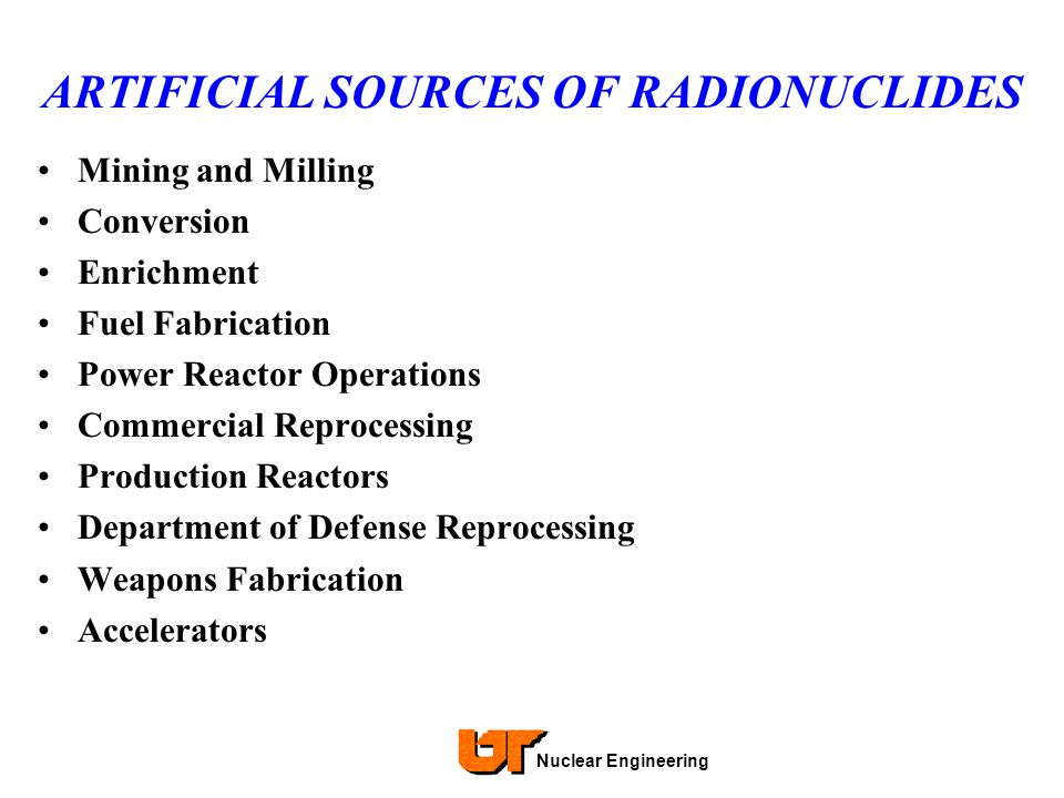 ARTIFICIAL SOURCES OF RADIONUCLIDES