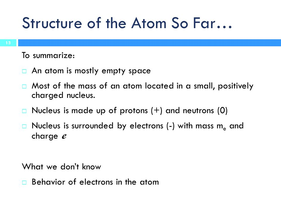 Structure of the Atom So Far…