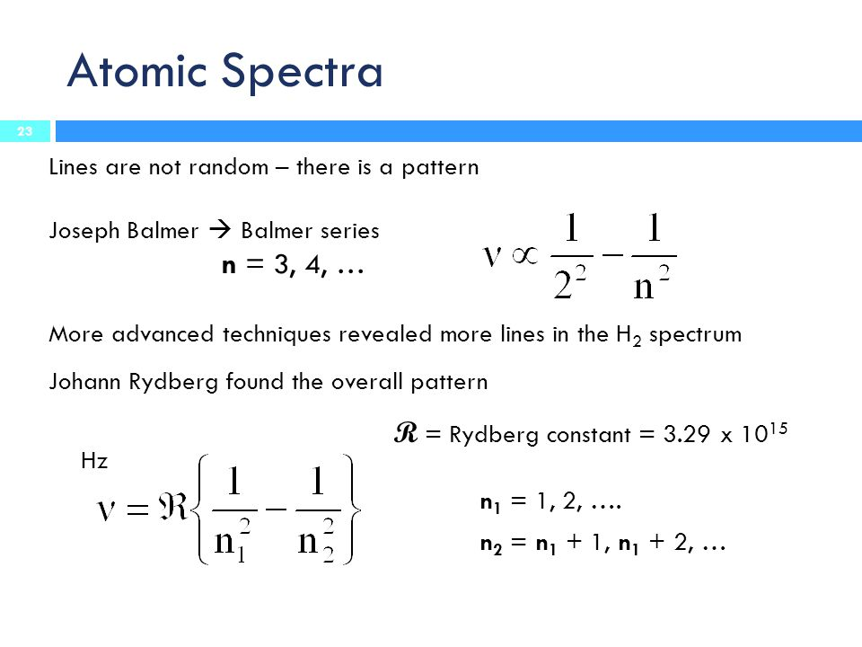 Atomic Spectra Lines are not random – there is a pattern