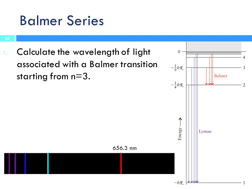 Balmer Series Calculate the wavelength of light associated with a Balmer transition starting from n=3.