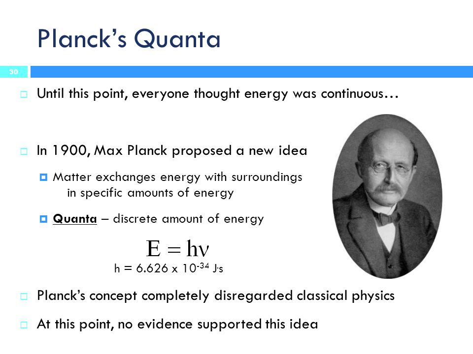 Planck's Quanta Until this point, everyone thought energy was continuous… In 1900, Max Planck proposed a new idea.