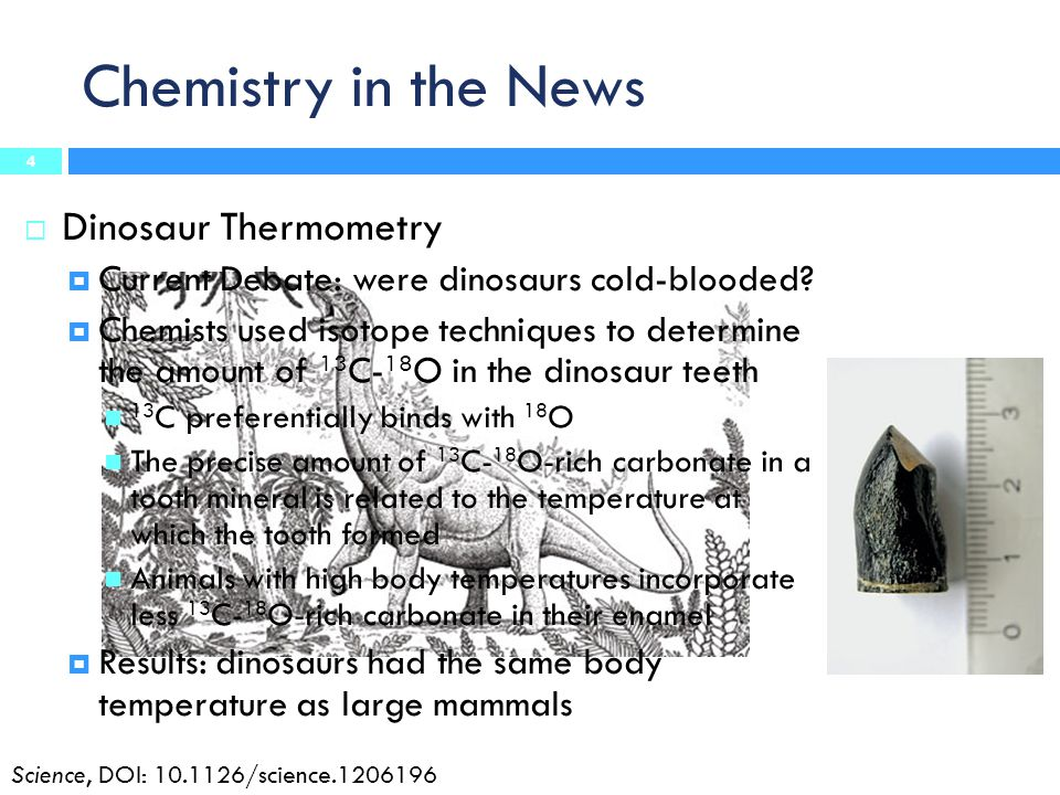 Chemistry in the News Dinosaur Thermometry