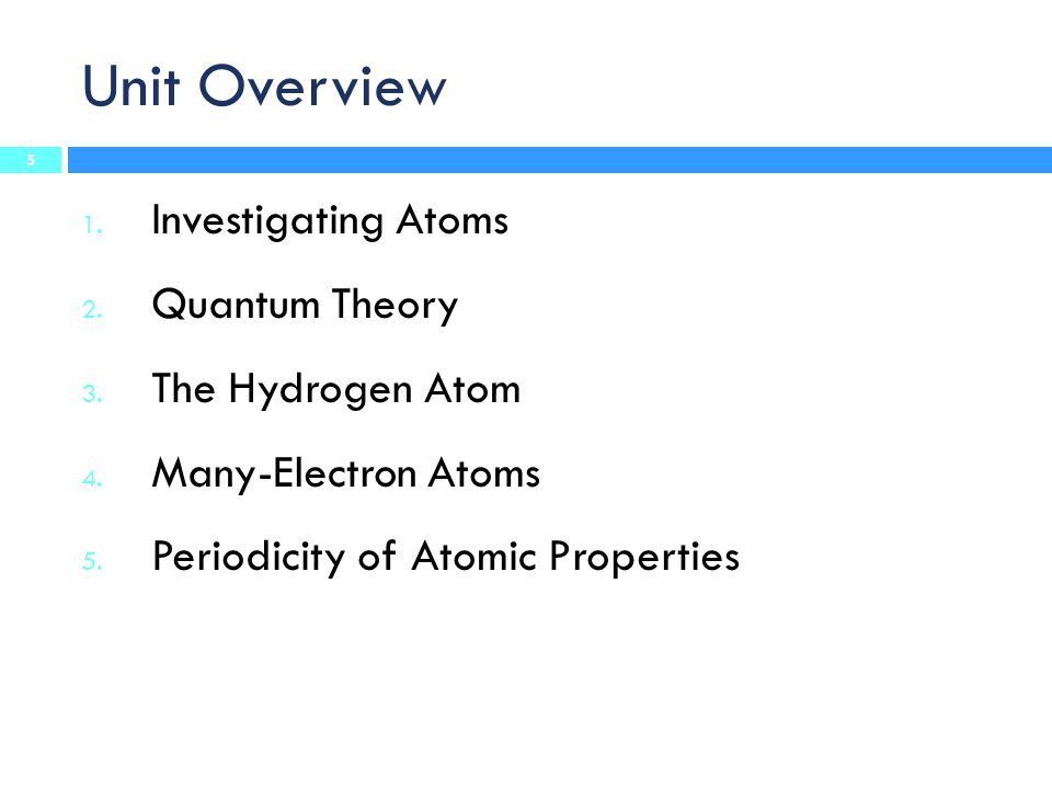 Unit Overview Investigating Atoms Quantum Theory The Hydrogen Atom